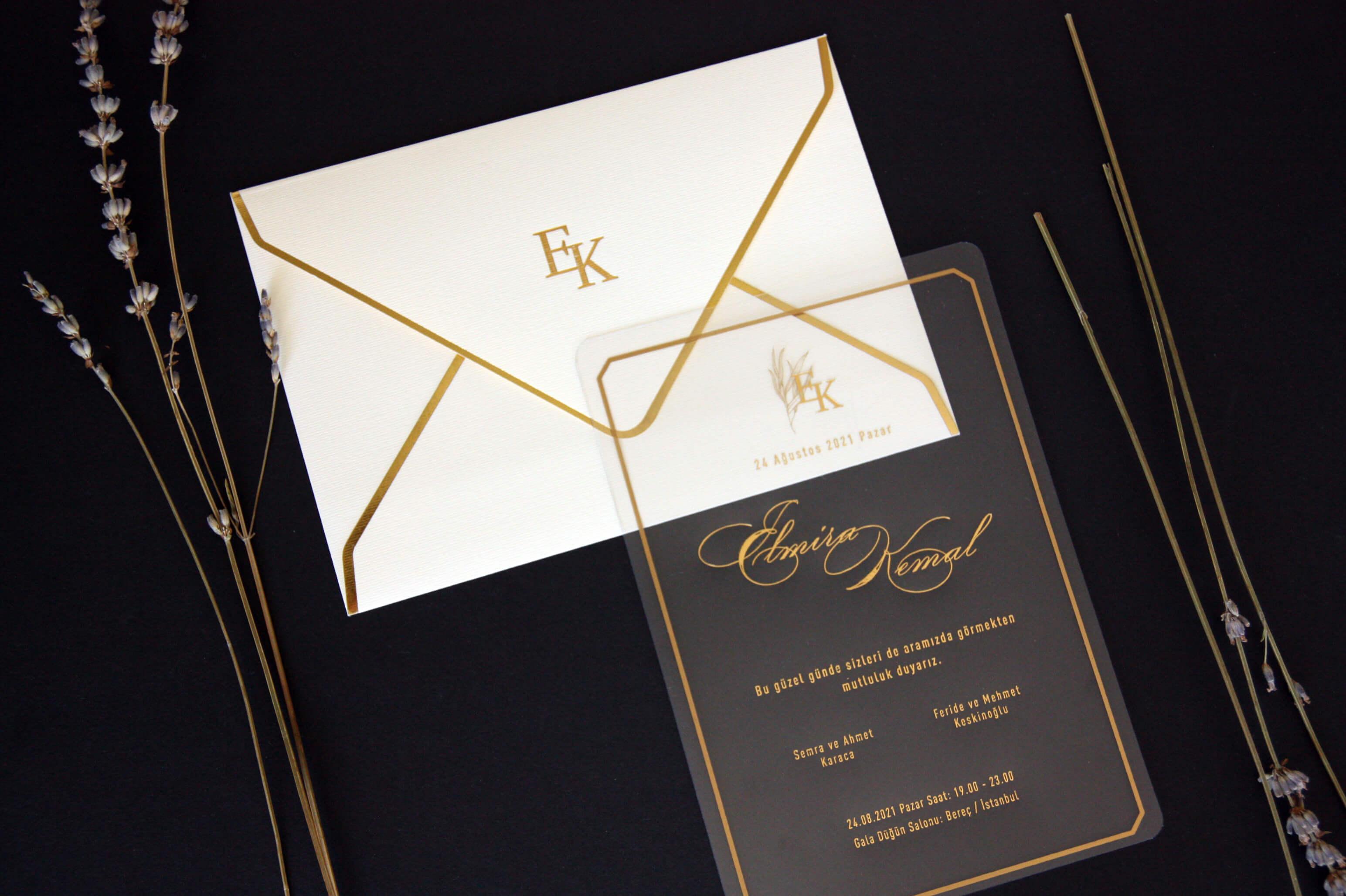 Özel tasarım şeffaf davetiye
