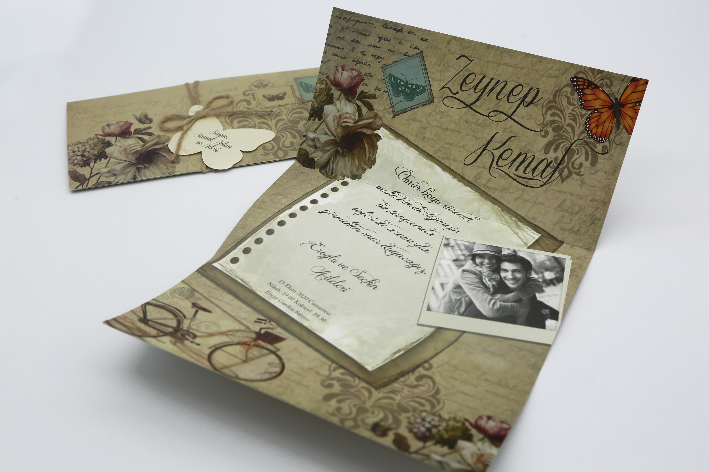 Fotoğraf baskılı düğün davetiyesi