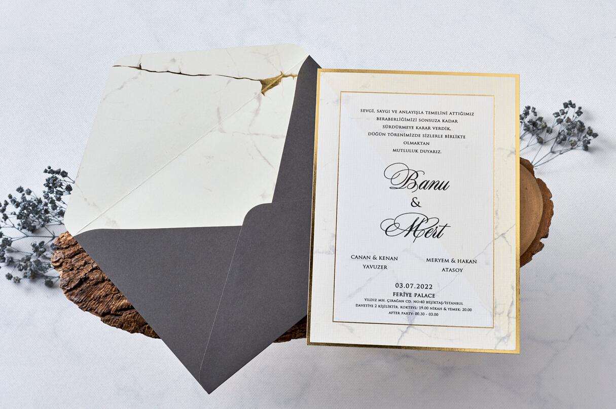 mermer desenli düğün davetiyesi 1175