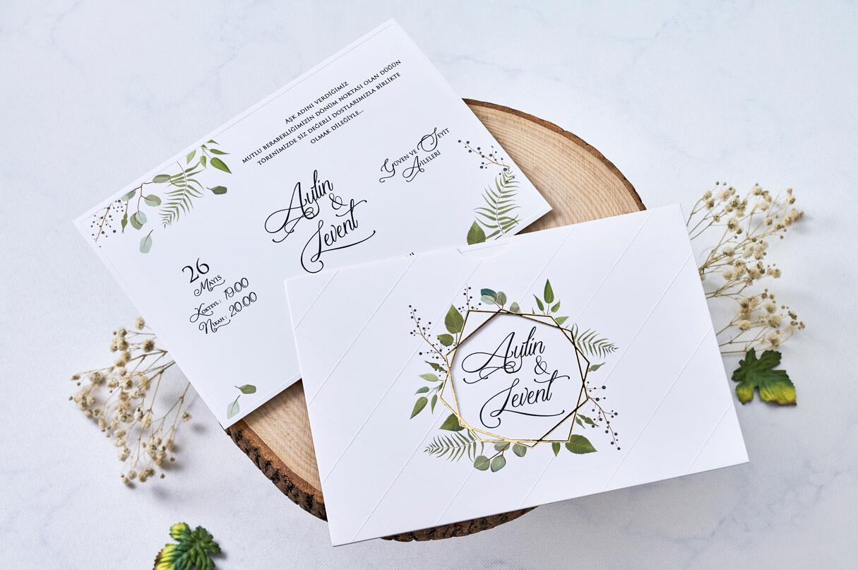 yeşil yapraklı özel tasarım davetiye