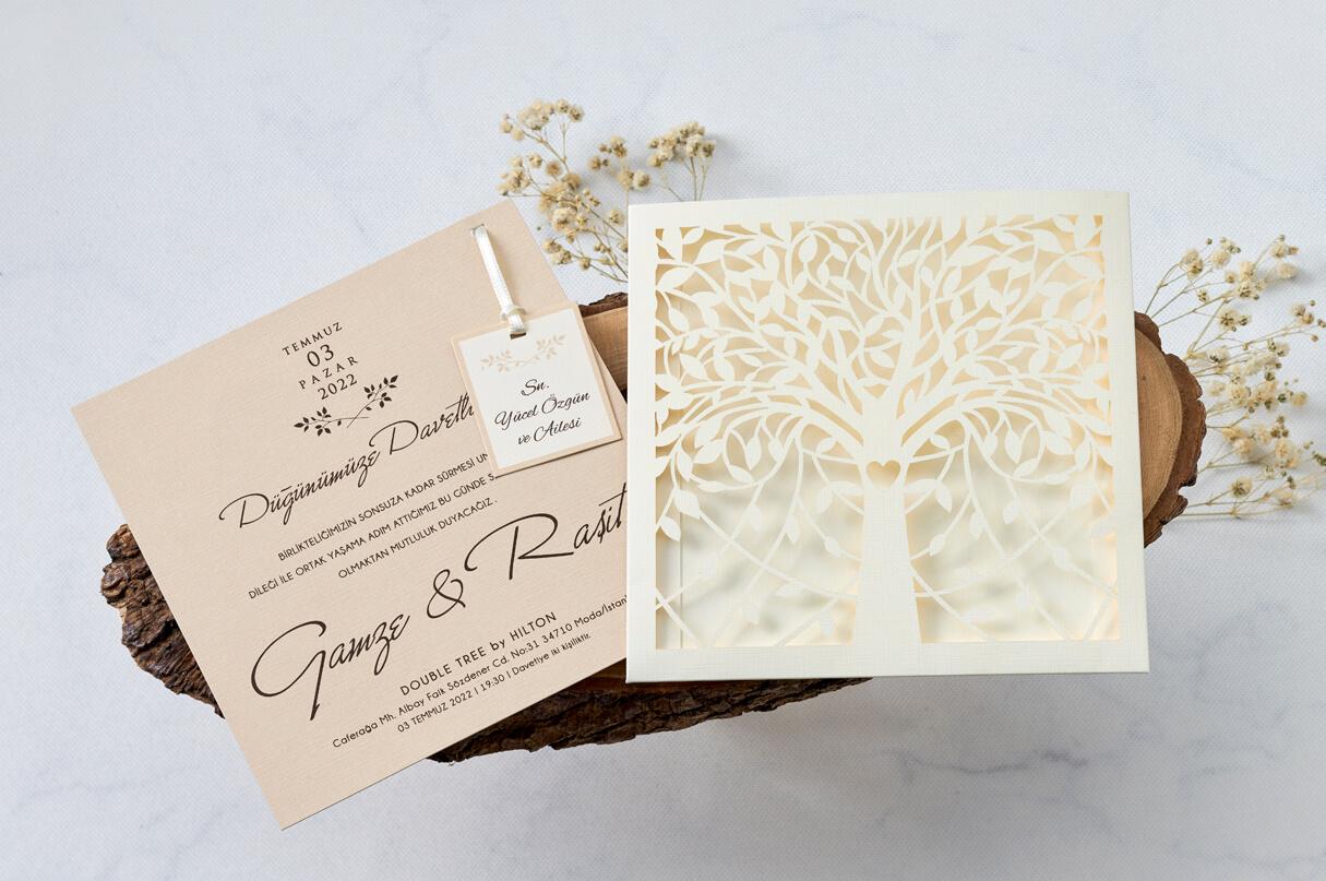 çınar ağacı davetiye-lazer kesimli davetiye-özel davetiye