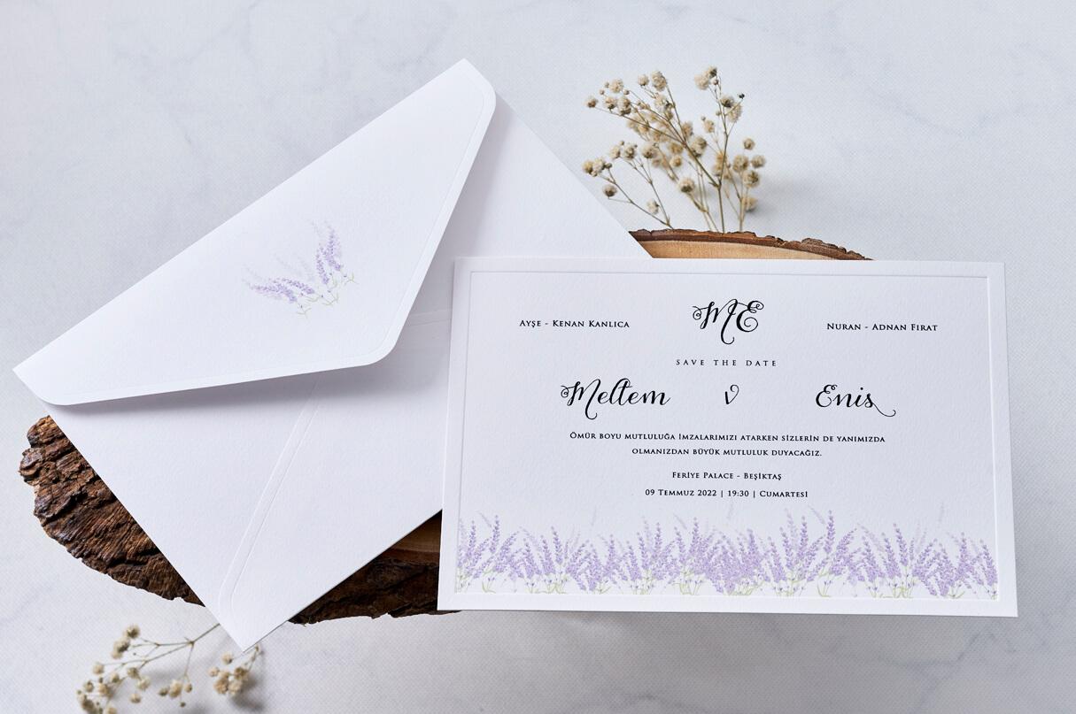 lavanta çiçekli davetiye - lavantalı davetiye - lavantalı düğün davetiyesi