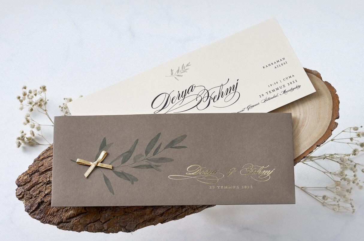 yaprak tasarımlı davetiye-düğün-davetiyesi-kayra-davetiye