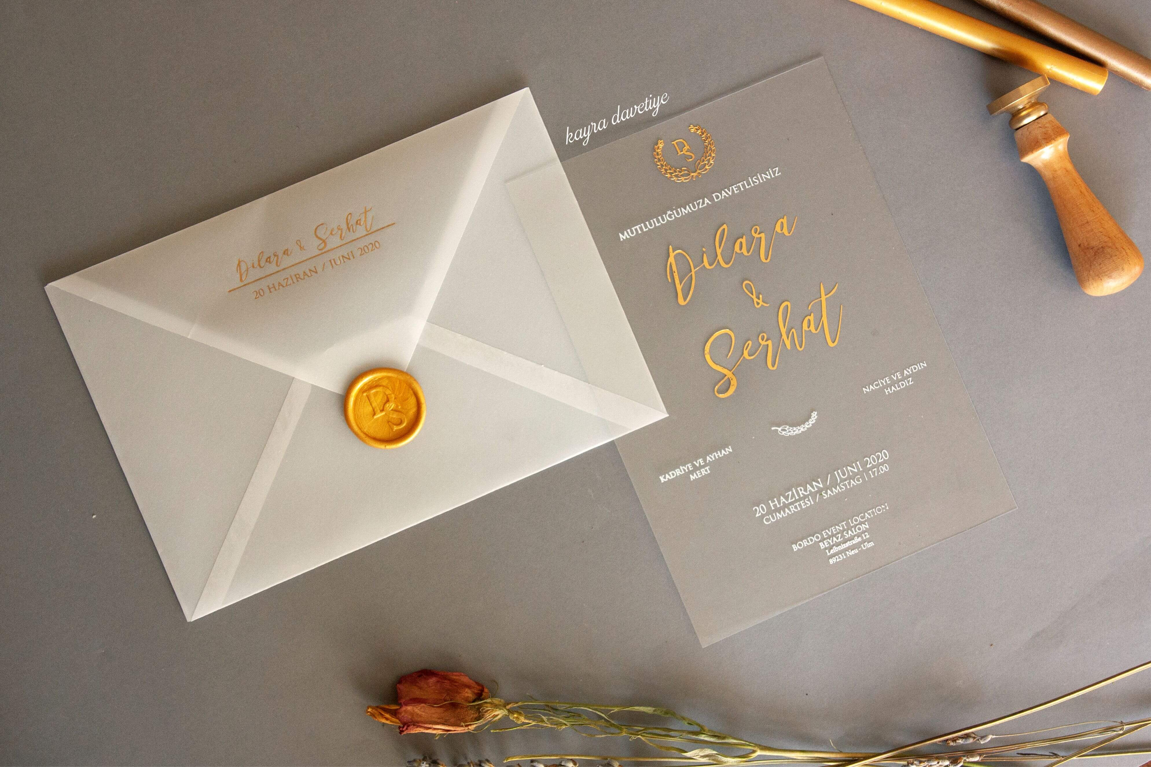 Şeffaf ve mühürlü davetiye-özel tasarım davetiye.