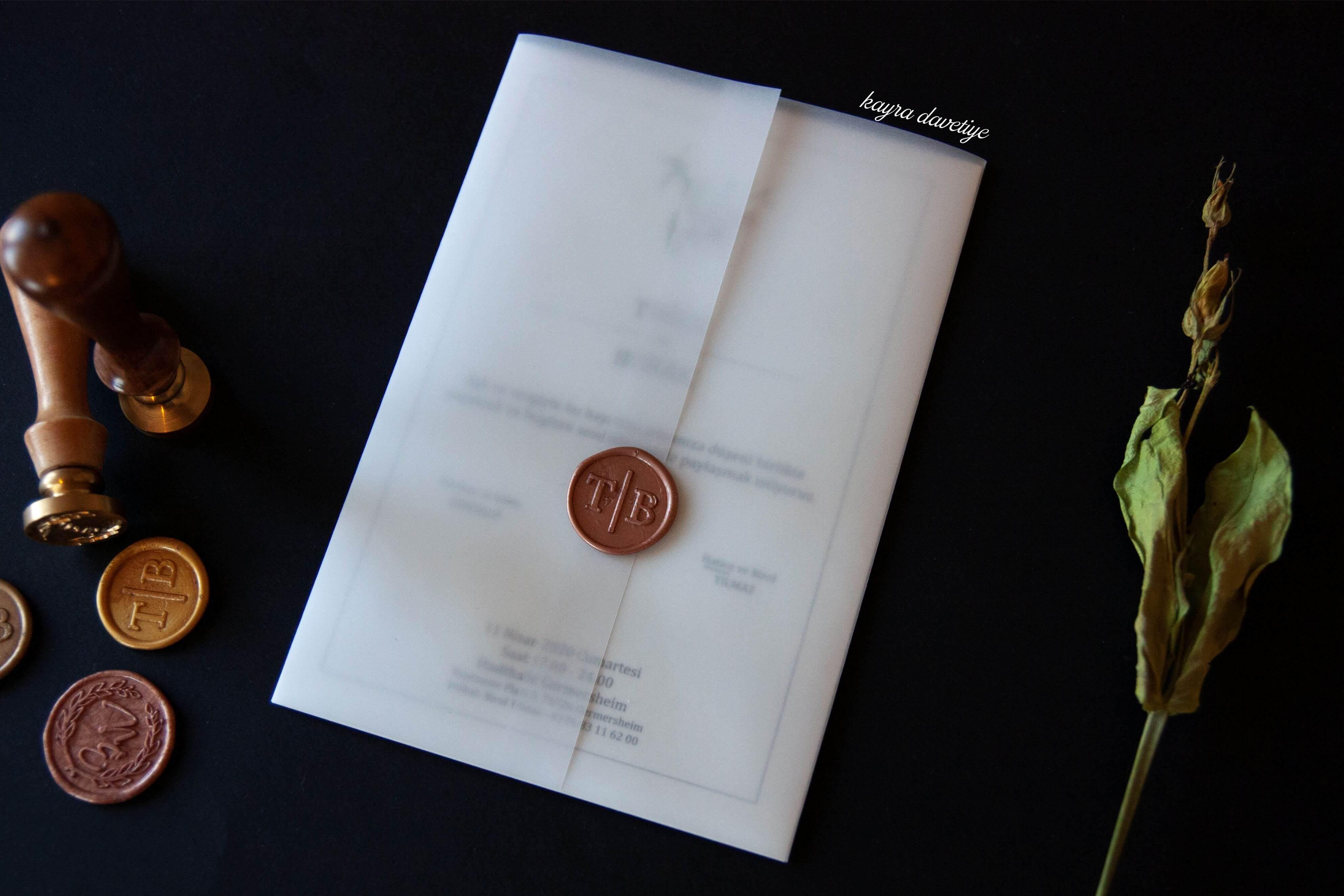 şeffaf zarflı özel tasarım davetiye