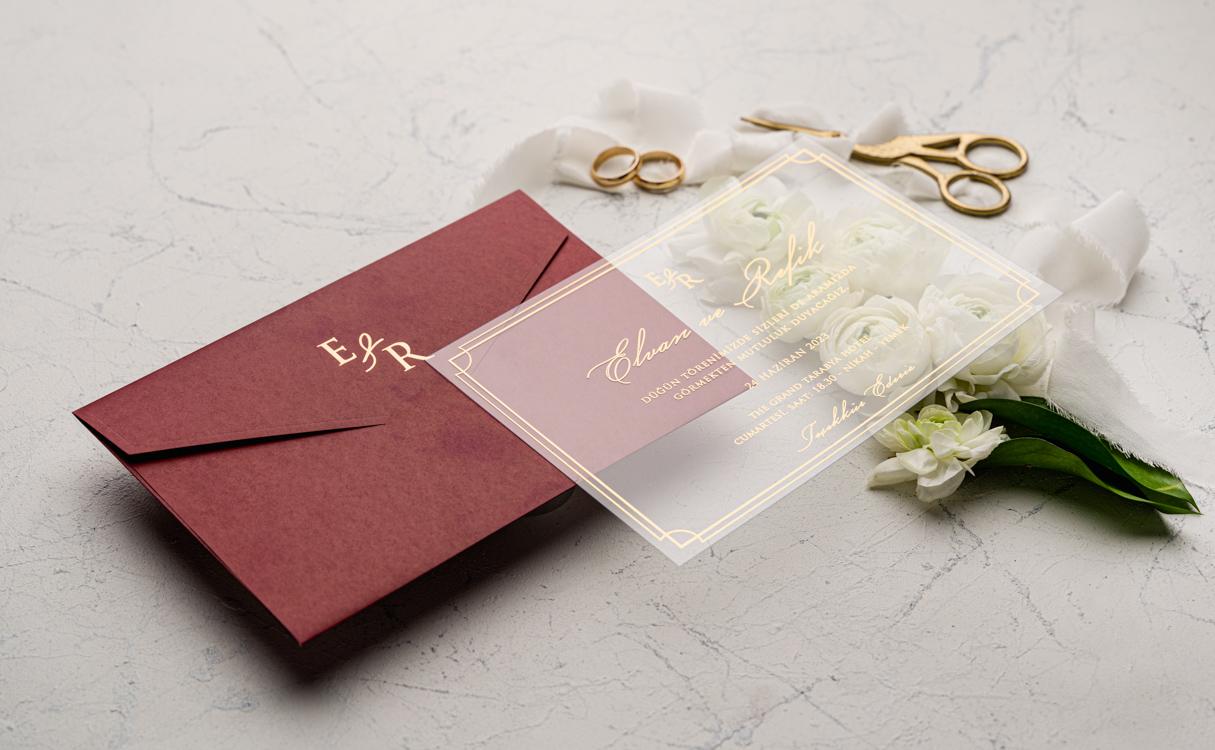 şeffaf davetiye - pleksi davetiye