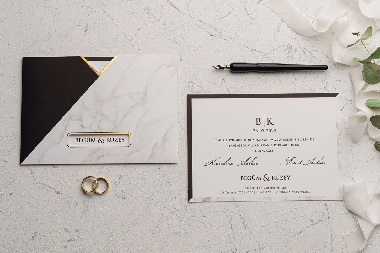 Mermer desenli düğün davetiyesi